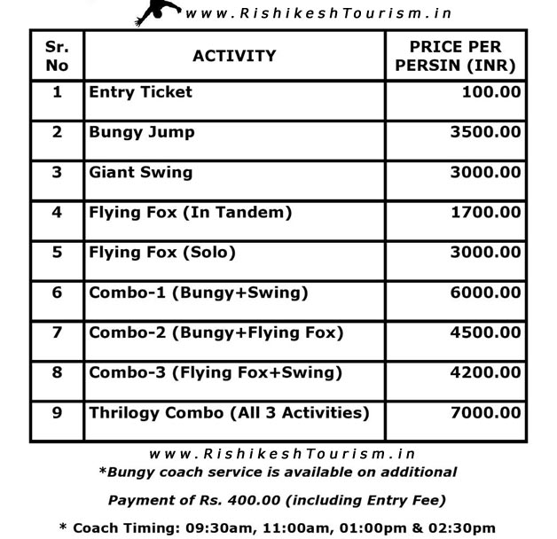 Flying Fox Price - Rate List